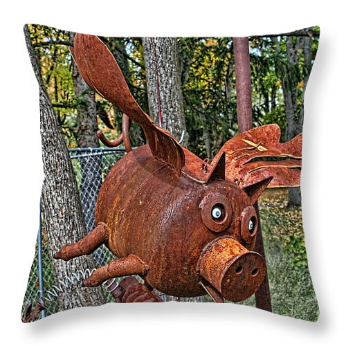 Jurustic Park Throw Pillow featuring the photograph When Pigs Fly by Tommy Anderson