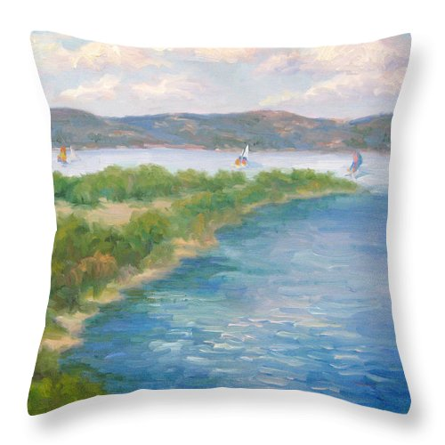 Lake Throw Pillow featuring the painting When There Was Water by Bunny Oliver