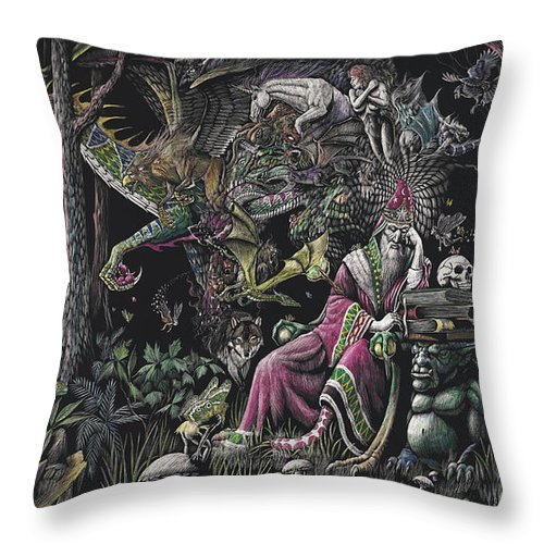 Dragon Throw Pillow featuring the drawing When Wizards Dream by Stanley Morrison
