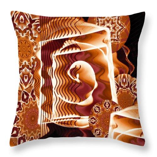 Fractal Throw Pillow featuring the digital art When Worlds Kaleide by Charmaine Zoe