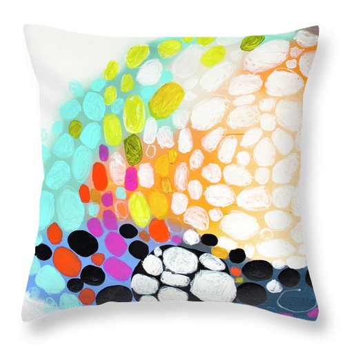 Abstract Throw Pillow featuring the painting When You Get Home by Claire Desjardins