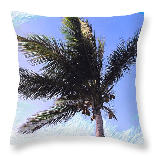 Palm Throw Pillow featuring the photograph Where Coconuts Come From by Ian MacDonald