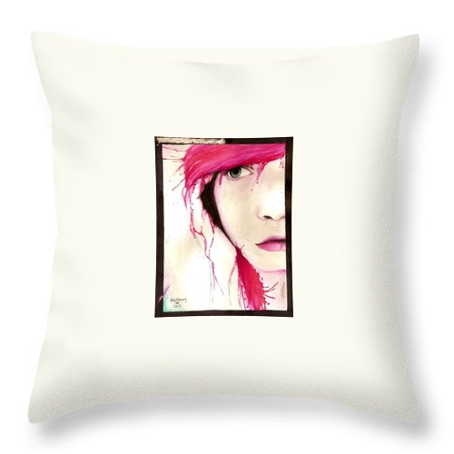 Pink Girl Throw Pillow featuring the drawing Where Do You Think Beauty Goes by Freja Friborg