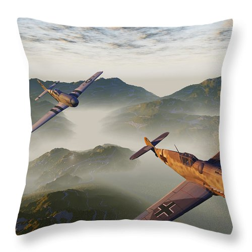 P-51 Messerschmitt Wwii Fighters Flying Aces Throw Pillow featuring the digital art Where Eagles Dare by Steven Palmer
