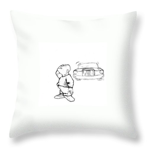 Man Throw Pillow featuring the drawing Where I Am... by Line Gagne