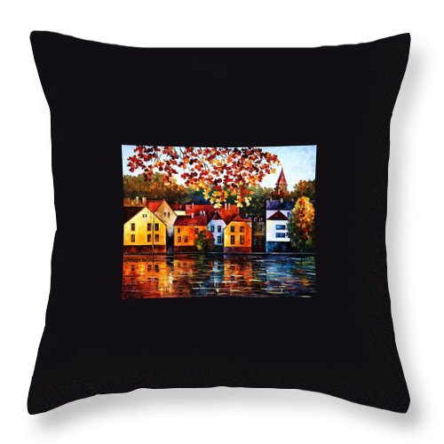 Afremov Throw Pillow featuring the painting Where I Grew Up by Leonid Afremov