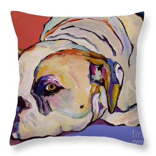 American Bulldog Throw Pillow featuring the painting Where Is My Dinner by Pat Saunders-White
