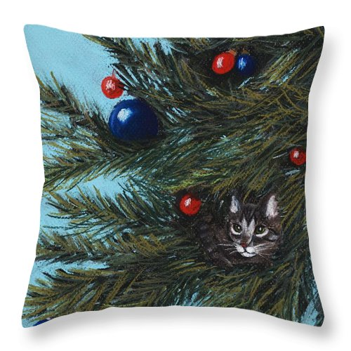 Cat Throw Pillow featuring the pastel Where Is Santa by Anastasiya Malakhova