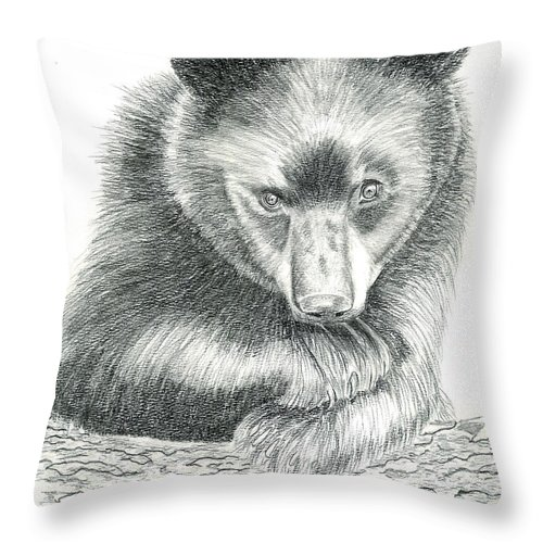Black Bear Throw Pillow featuring the drawing Where by Joette Snyder