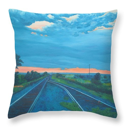 Railroad Tracks Throw Pillow featuring the painting Where Little Boys Play by Blaine Filthaut