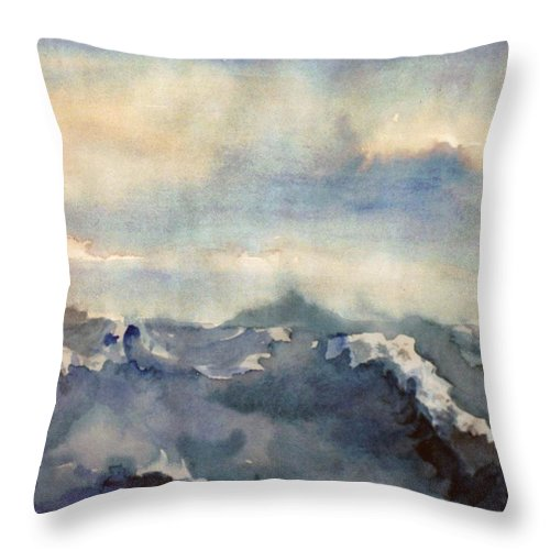 Seascape Throw Pillow featuring the painting Where Sky Meets Ocean by Steve Karol