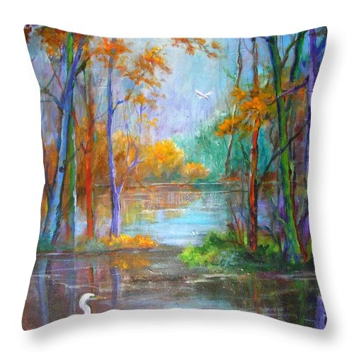 Landscape Throw Pillow featuring the painting Where The Egret Lives by Barbara Couse Wilson