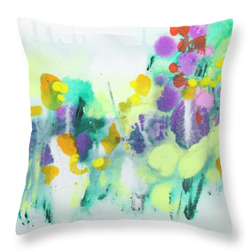 Abstract Throw Pillow featuring the painting Where The Irises Grow by Claire Desjardins