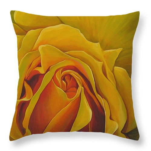 Yellow Rose Throw Pillow featuring the painting Where The Rose Is Sown by Hunter Jay