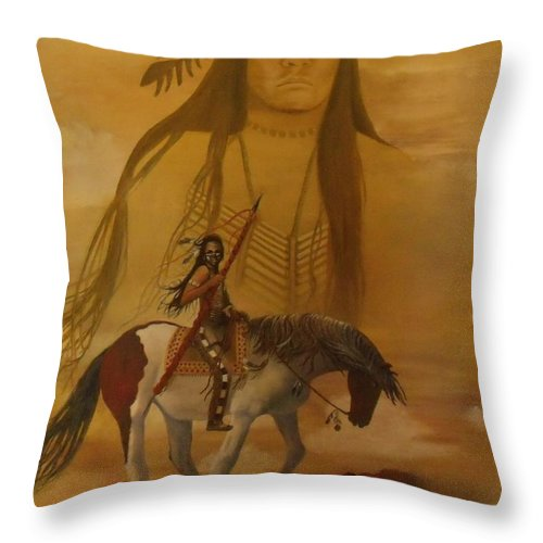 Horse Throw Pillow featuring the painting Where The Sun Touches The Sky by Shauna Eggleston