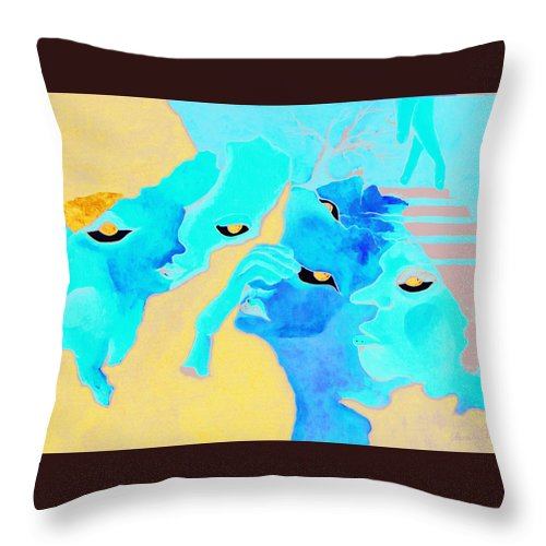 Lost Curious Red Blue People Throw Pillow featuring the painting Where Was I by Veronica Jackson