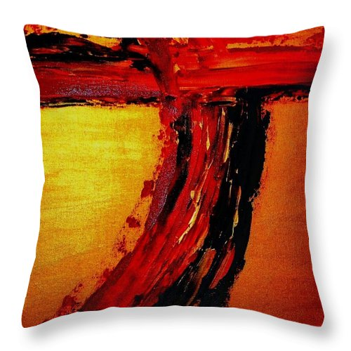 Cross Throw Pillow featuring the painting Where Your Blood Was Shed For Us by Etta Harris