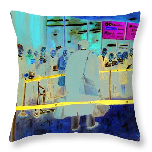 People Throw Pillow featuring the painting Where's My Ride by Leonardo Ruggieri