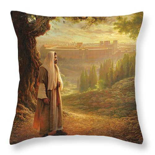 Jesus Throw Pillow featuring the painting Wherever He Leads Me by Greg Olsen