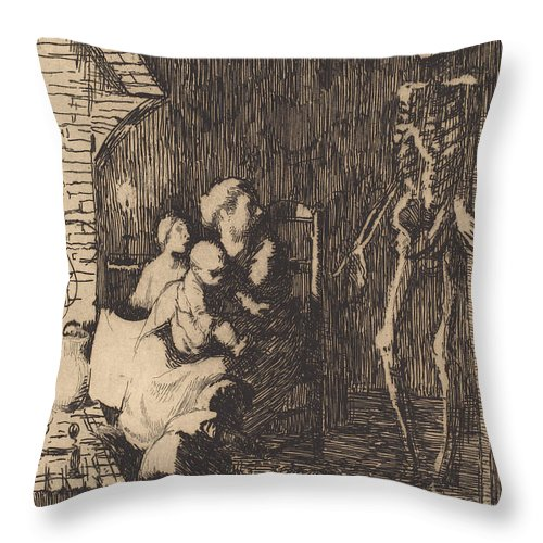 Throw Pillow featuring the drawing Which One? (lequel?) by Albert Besnard