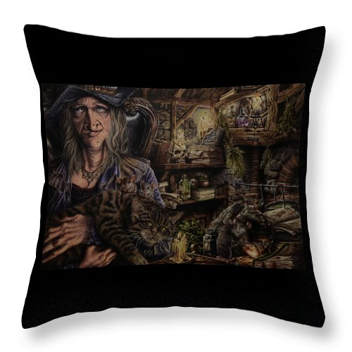 Fantasy Throw Pillow featuring the painting Which witch is which by Robert Haasdijk
