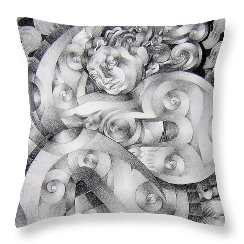 Art Throw Pillow featuring the drawing Whim by Myron Belfast