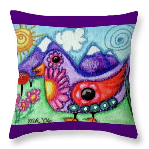 Whimsical Throw Pillow featuring the painting Whimsical Bird by Monica Resinger