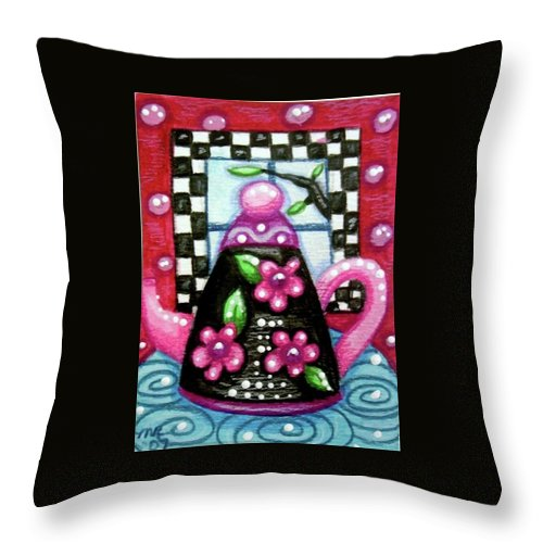 Tea Throw Pillow featuring the painting Whimsical black Teapot with Pink Flowers by Monica Resinger