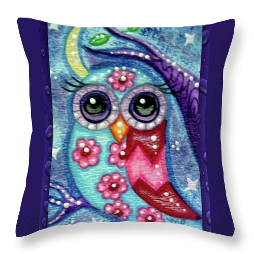 Whimsical Throw Pillow featuring the painting Whimsical Floral Owl by Monica Resinger