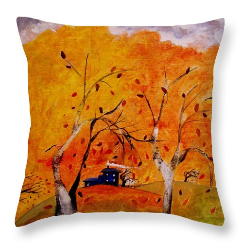 Abstract Throw Pillow featuring the painting Whimsical Wind by Ruth Palmer