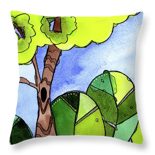 Painting Throw Pillow featuring the painting Whimsy Trees by Tonya Doughty