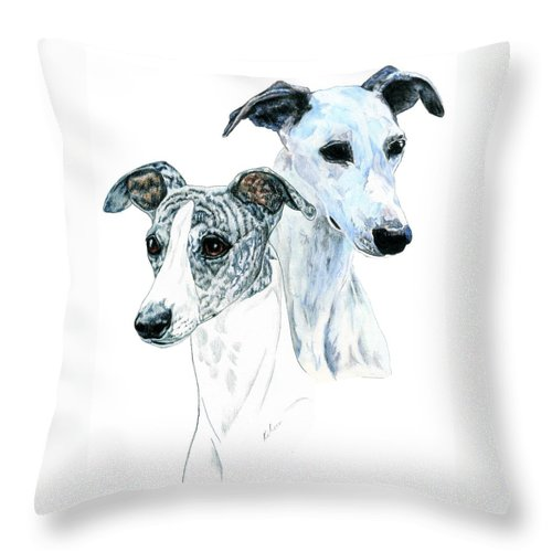 Whippet Throw Pillow featuring the painting Whippet Pair by Kathleen Sepulveda