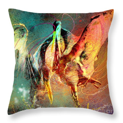 Miki Throw Pillow featuring the painting Whirled In Digital Rainbow by Miki De Goodaboom