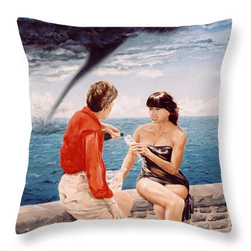 Whirlwind Throw Pillow featuring the painting Whirlwind Romance by Mark Cawood