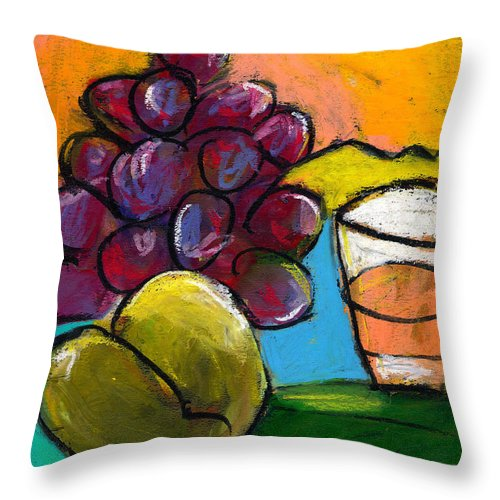 Still Life Throw Pillow featuring the painting Whiskey Pear Grapes by Angelina Marino
