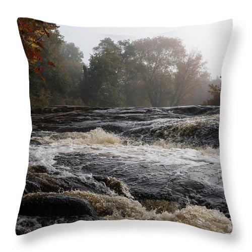 Georgia Mizuleva Throw Pillow featuring the photograph Whiskey River - Foggy Fall Waterscape by Georgia Mizuleva
