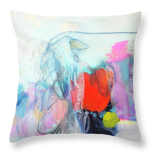 Abstract Throw Pillow featuring the painting Whisper by Claire Desjardins