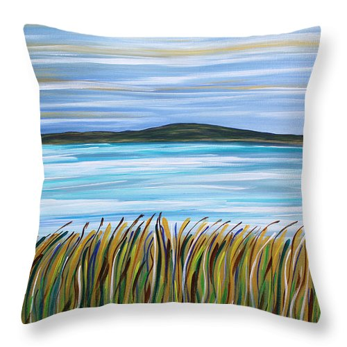 Seacape Throw Pillow featuring the painting Whispering Grass by Shirley Kent