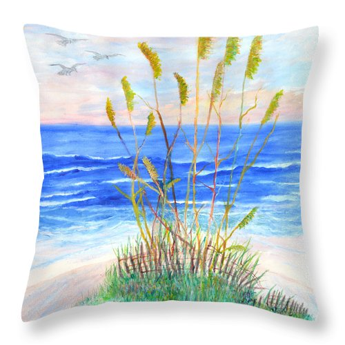 Sea Oats Throw Pillow featuring the painting Whispering Sea Oats by Ben Kiger