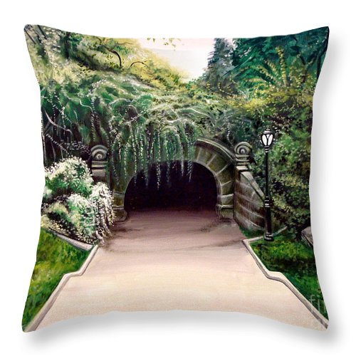 Landscape Throw Pillow featuring the painting Whispering Tunnel by Elizabeth Robinette Tyndall