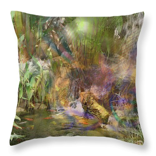 Whispering Waters Throw Pillow featuring the digital art Whispering Waters by John Beck