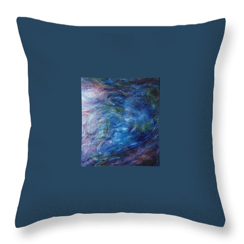 Abstract Throw Pillow featuring the painting Whispers In A Sea Of Blue by Nancy Mueller
