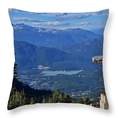 Landscape Throw Pillow featuring the photograph Whistler Inukshuk by Carmen Braun