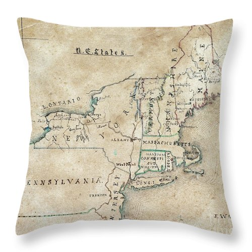 1844 Throw Pillow featuring the drawing Whistler, United States. by Granger