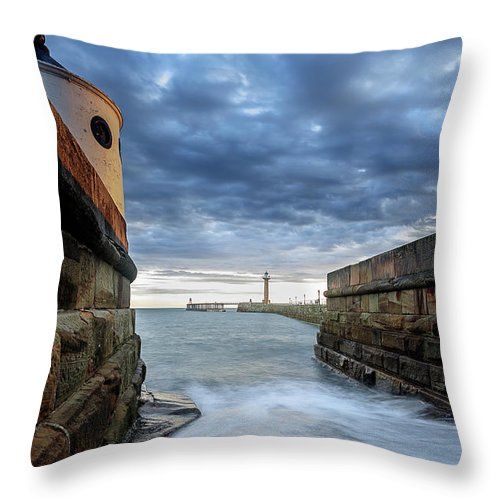 Whitby Pier Whitby North Yorkshire England Throw Pillow featuring the photograph Whitby Morning Tide 2 by John Hall