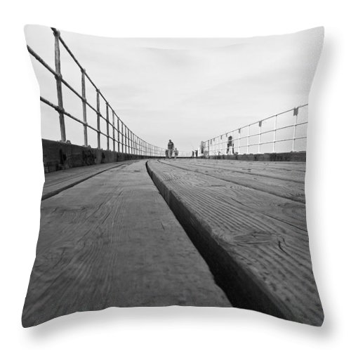 Whitby Pier Throw Pillow featuring the photograph Whitby Pier by Svetlana Sewell
