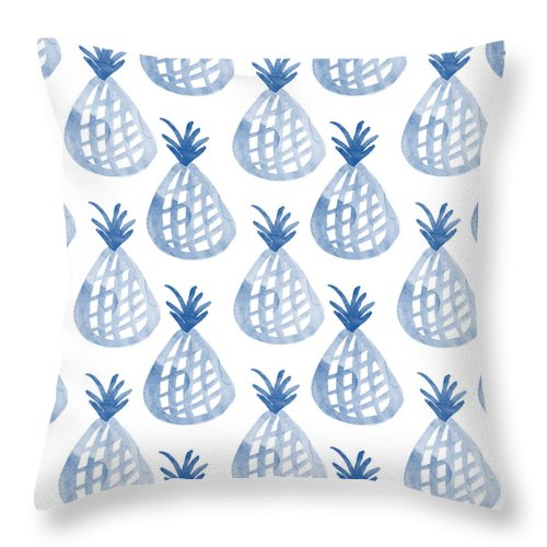 Pineapple Throw Pillow featuring the mixed media White And Blue Pineapple Party by Linda Woods