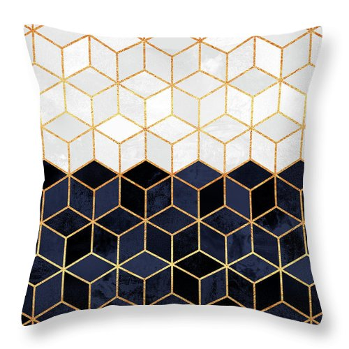 Graphic Throw Pillow featuring the digital art White And Navy Cubes by Elisabeth Fredriksson