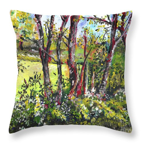 Nature Throw Pillow featuring the painting White And Yellow - An Unusual View by Joseph A Langley