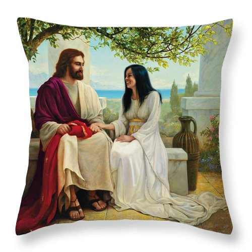 Jesus Throw Pillow featuring the painting White As Snow by Greg Olsen